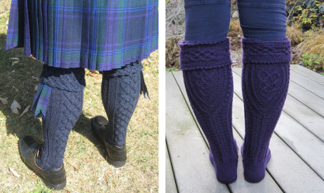 Left, Clessidra by Gabriella Chiarenza (his) and right, He' mo Leanan Kilt Hose by Anne Carroll Gilmour (hers)