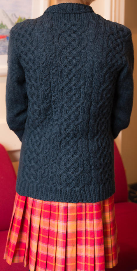 Beverley's all-over cable cardigan - one of three garments completed!