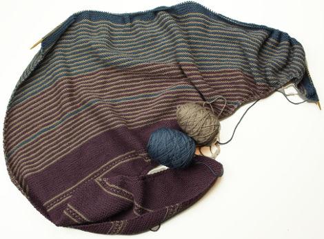 Drachenfels shawl by Melanie Berg, with Rosy Green Wool