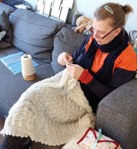 Monique Boonstra working on the Star Shawl, a reproduction of the shawl seen in the series Outlander