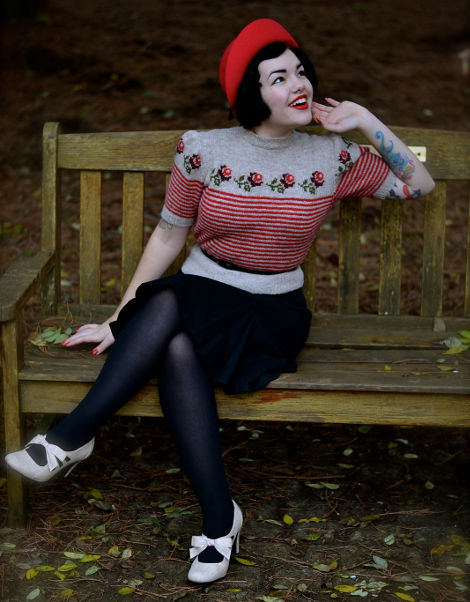 'Trimmed with Roses' Twinset Jumper by Susan Crawford