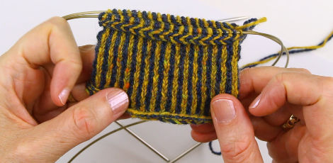 Two End or Twined Knitting - here using two alternate colors