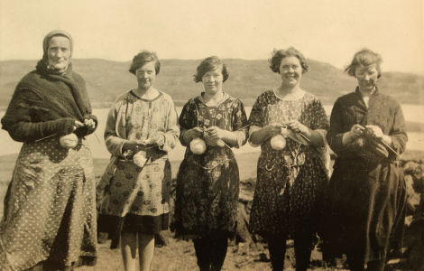 Shetland Knitters. They held the balls of wool with their little finger.