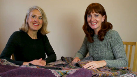 Marie Wallin and Andrea in Lerwick, Shetland during the Shetland Wool Week 2017