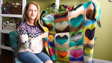 Jamie's Noro Hearts Blanket, pattern by Bonnie Franz