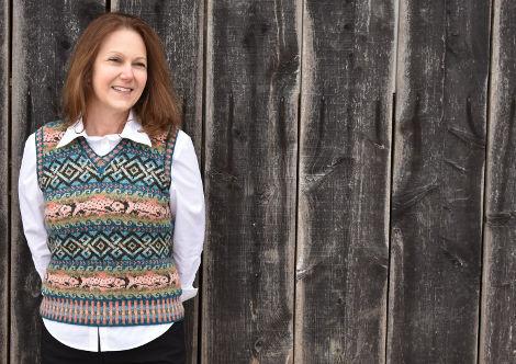 Karen Clerke wearing Salmon Coming Home by Janine Bajus