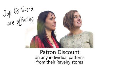 Patron Discount - Any individual pattern published by Veera or Joji - Details at Patreon