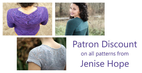 Jenise Hope is offering Fruity Knitting Patrons a discount on all her patterns