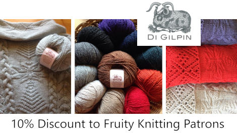 Di is offering Fruity Knitting Patrons a discount on all yarns, kits and patterns in her online store