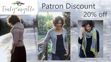Patron Discount of 20% on all self-published designs by Truly Myrtle