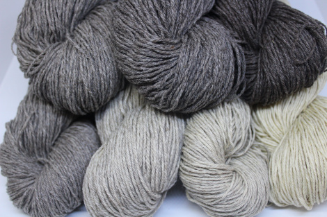 Romeldale CVM yarns in shades of greys